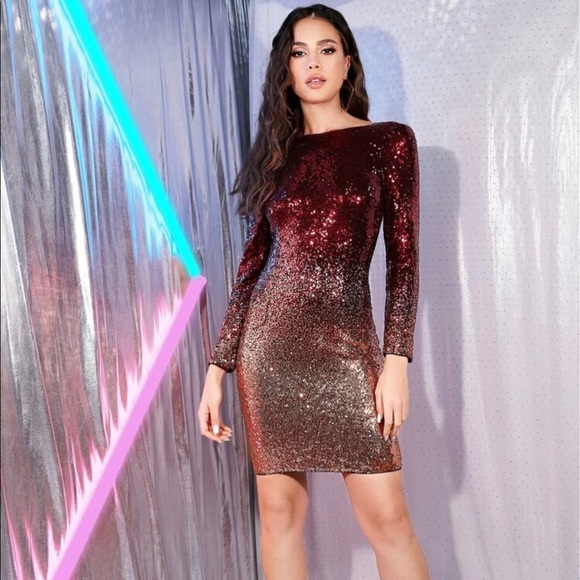 Dresses & Skirts - Low back ombre sequin bodycon dress